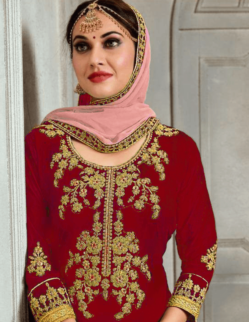 Latest Partywear Red Georgette Pakistani Designer Plazo Suit