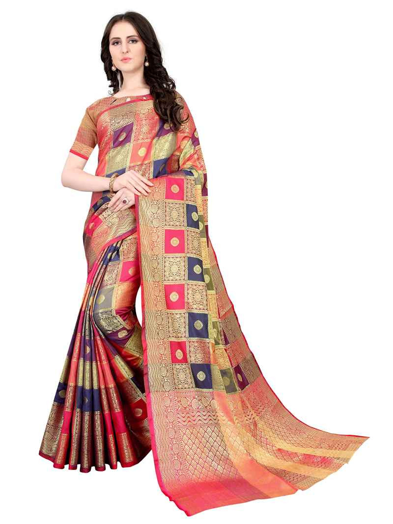 Purchase Fancy Designer Red Cotton Silk Saree for Wedding Online