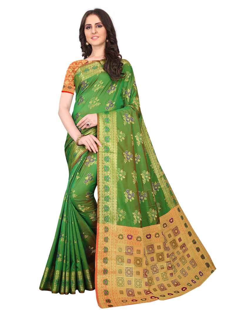 Purchase Latest Designer Womens Party Wear Green Soft Silk Saree Online