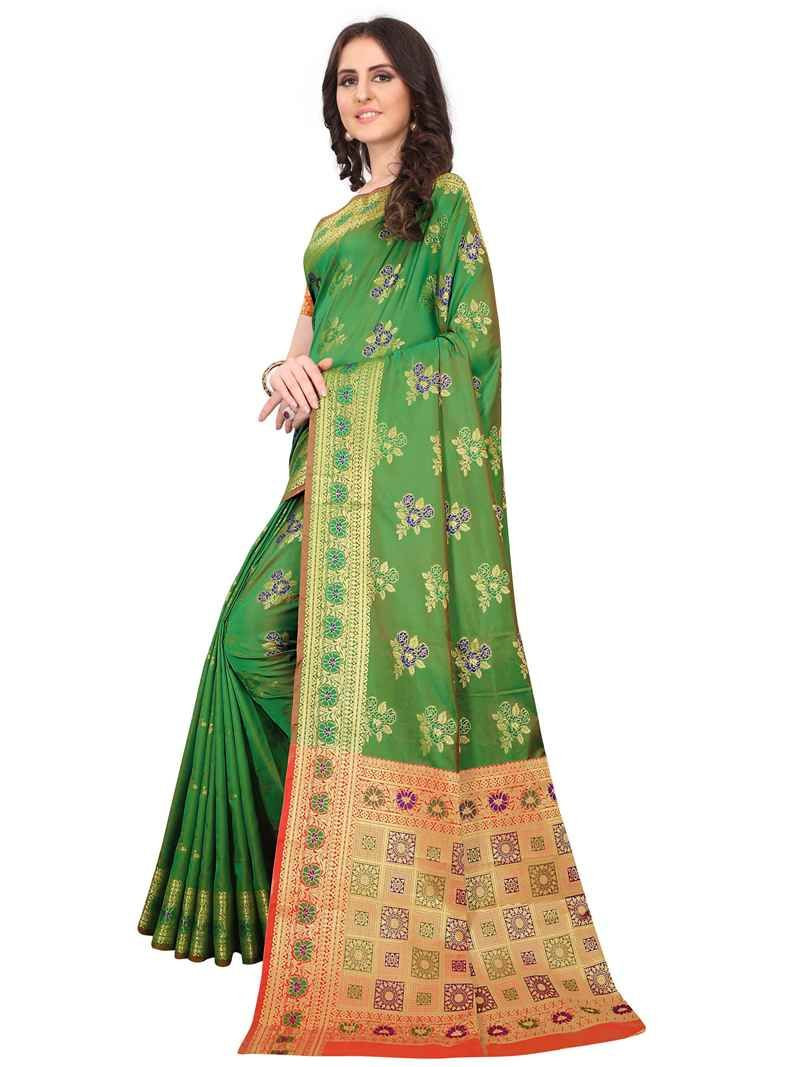 Latest Designer Womens Party Wear Green Soft Silk Saree