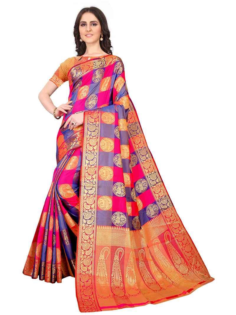 Purchase Ladies New Stylish Multi Color Sana Silk Saree Online