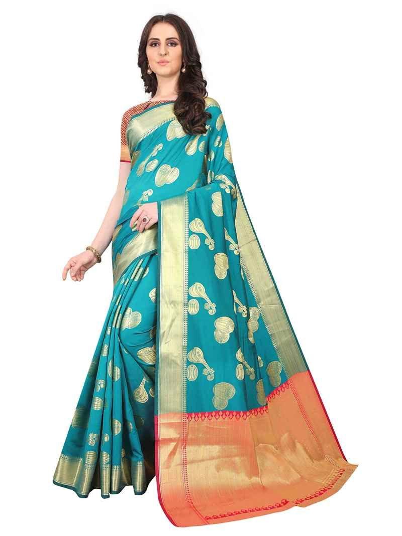 Purchase New Designer Turquoise Chanderi Silk Saree Design 2020 Online