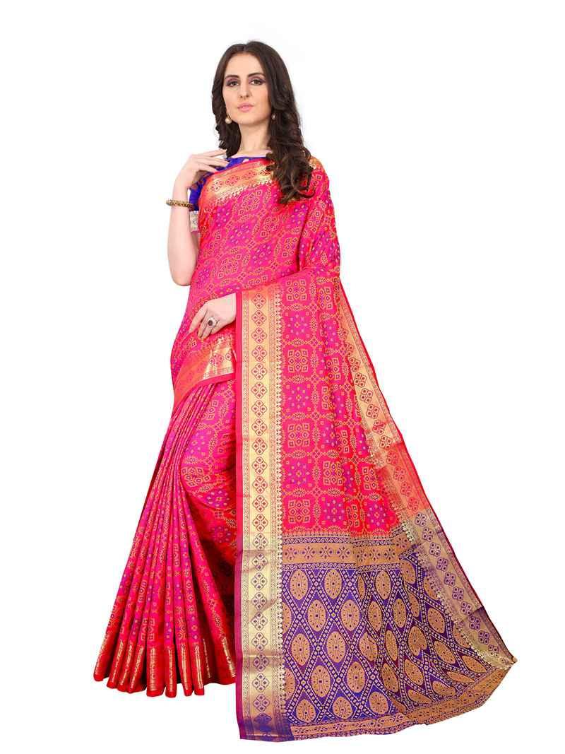 Purchase Indian Designer Pink Kanjivaram Silk Saree For Women Online