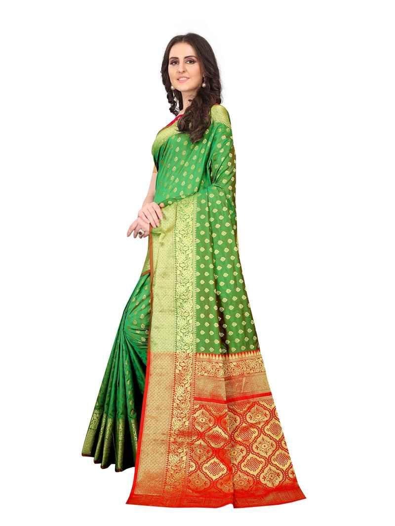 Trendy Ladies Green Pure Silk Saree For Wedding