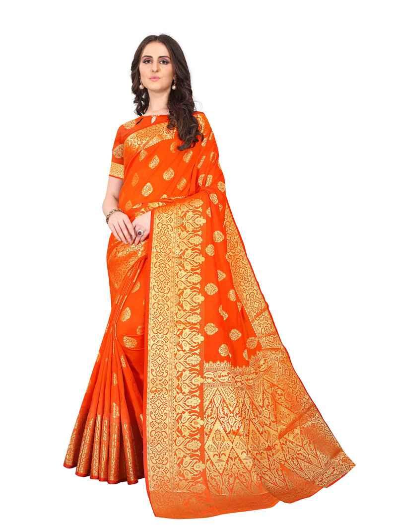 Beautiful Designer Partywear Orange Kanchipuram Silk Saree