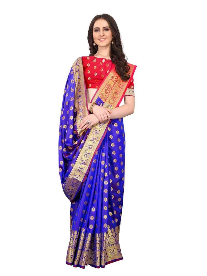 Designer Stylish Womens Blue Organza Silk Saree