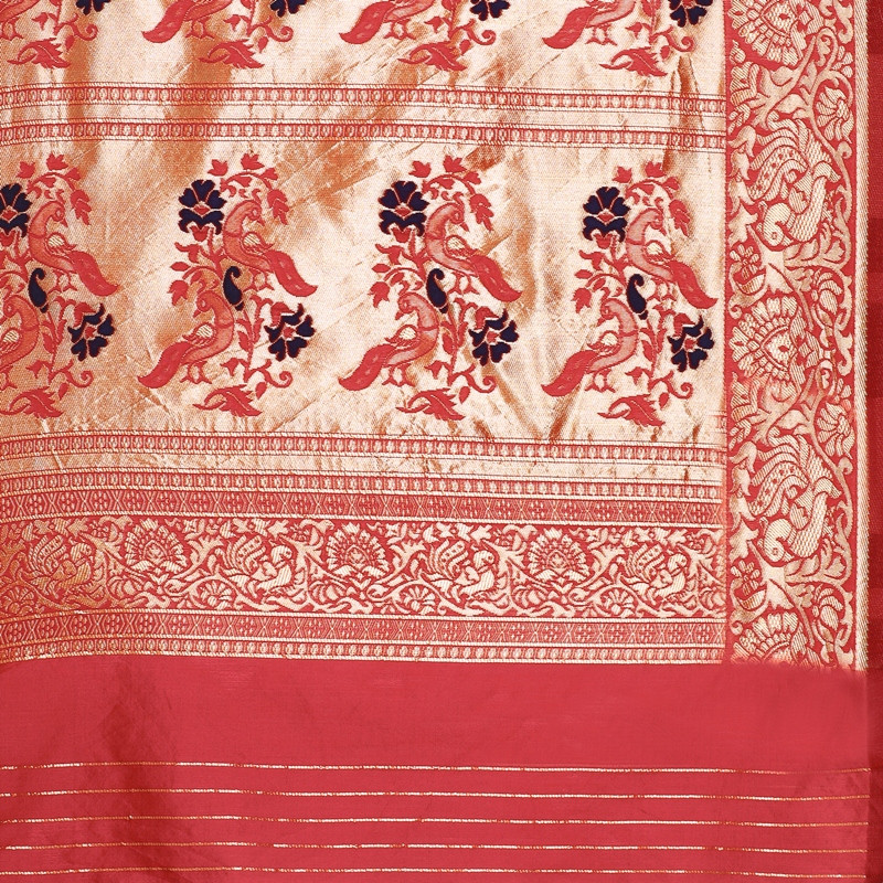 Latest Designer Womens Blue and Red Cotton Silk Saree