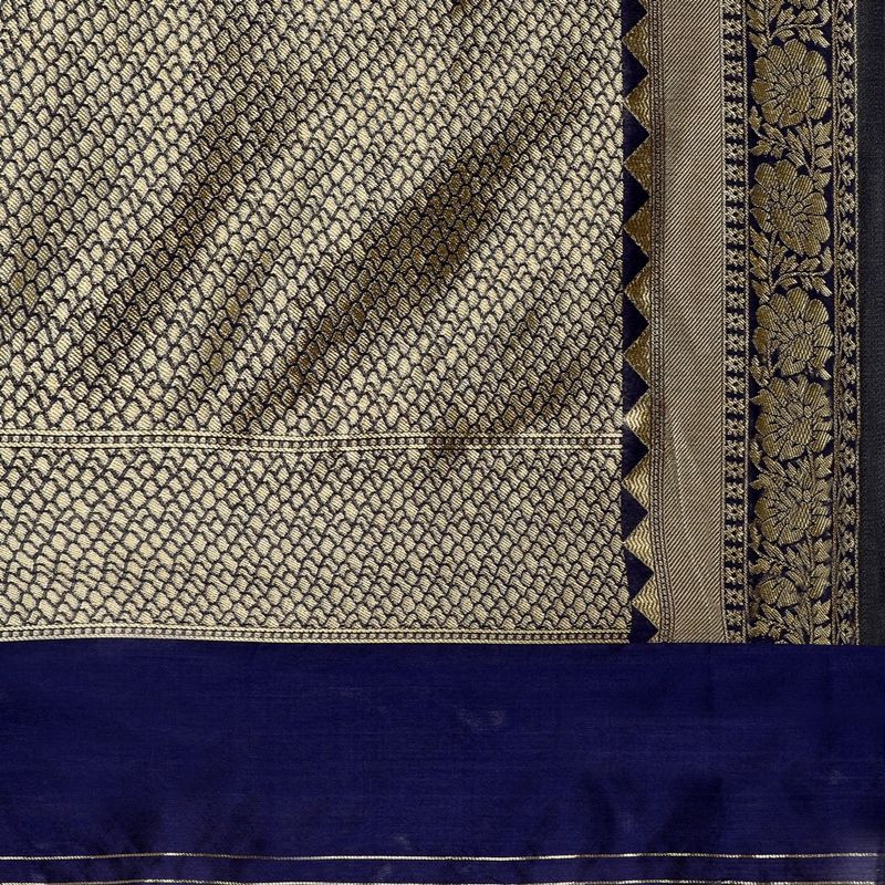 Indian Designer Navy Blue Kanchipuram Checks Silk Saree