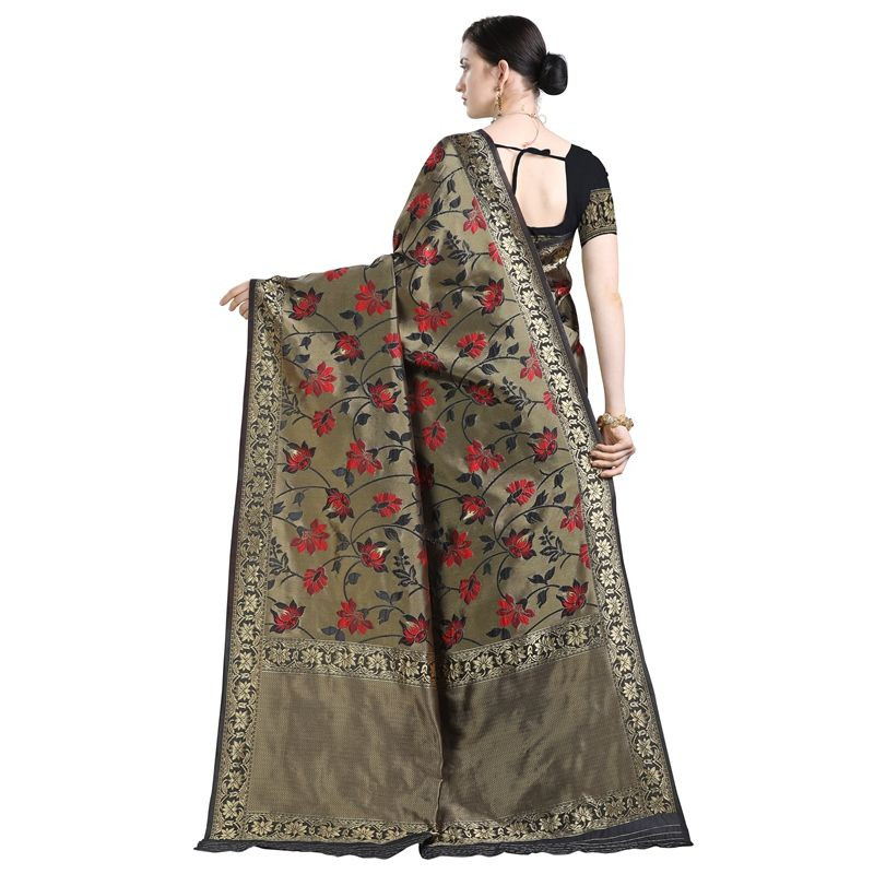 Stylish Designer Partywear Black Kanjivaram Silk Saree