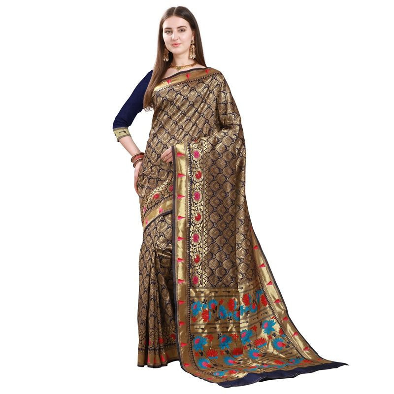 Womens Royal Blue Silk Saree with Golden Border
