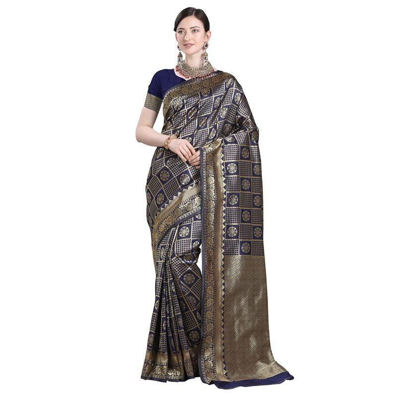 Purchase Indian Designer Navy Blue Kanchipuram Checks Silk Saree Online