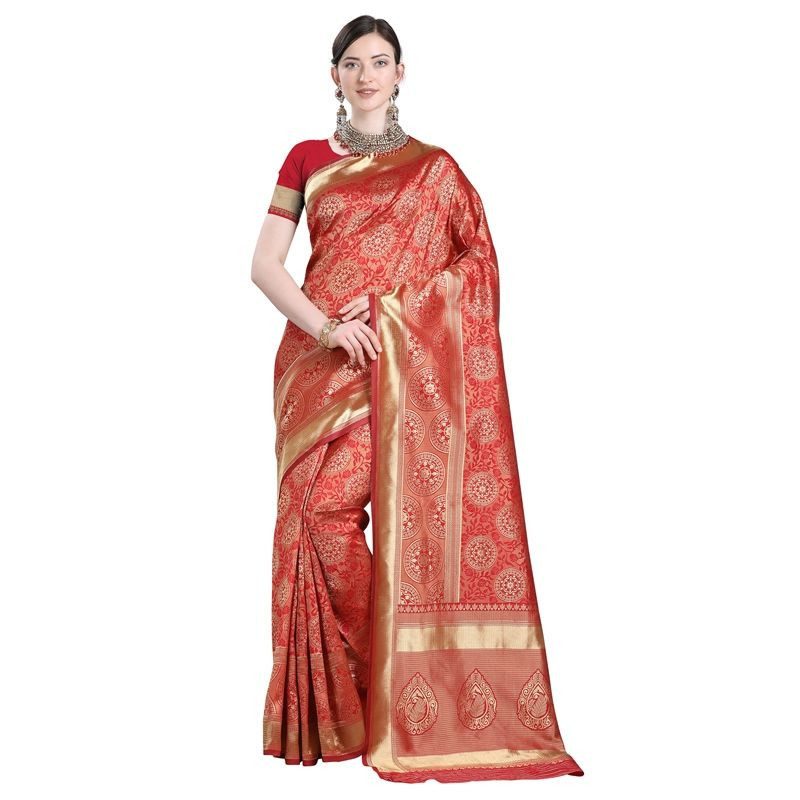 Purchase Stylish Designer Womens Partywear Orange Soft Silk Saree Online