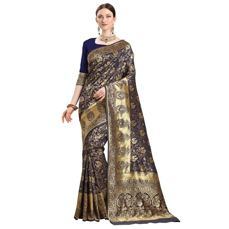 Ladies Navy Blue Silk Saree with Golden Border