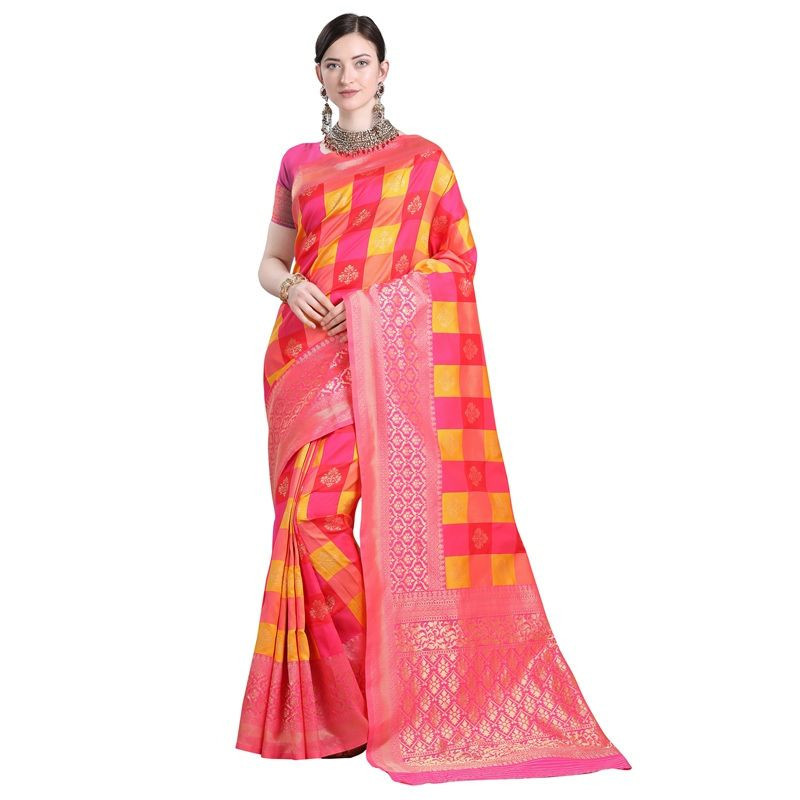 Fancy Pink Cotton Silk Saree For Ladies