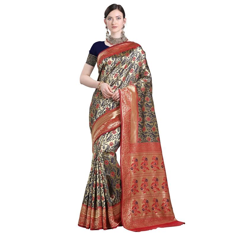 Latest Designer Womens Blue and Red Cotton Silk Saree