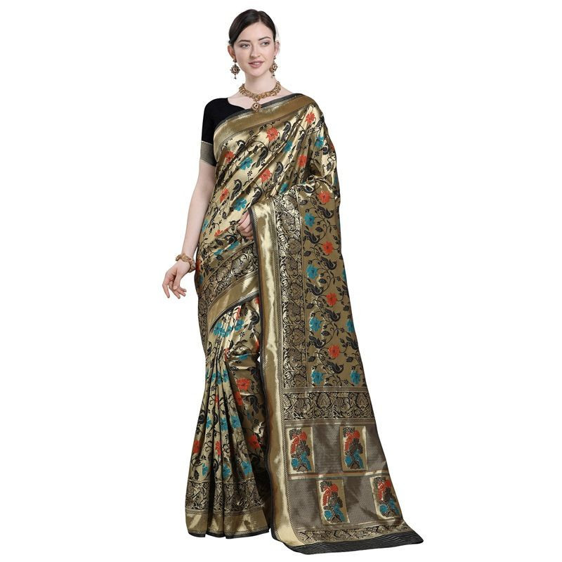 Ladies Fancy Partywear Black Silk Saree 2020