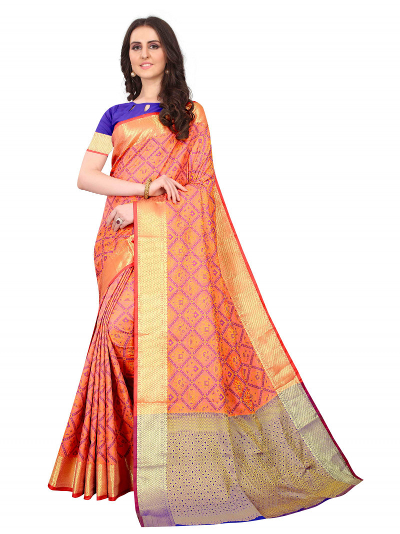 Indian Designer Orange Checks Cotton Silk Saree For Women