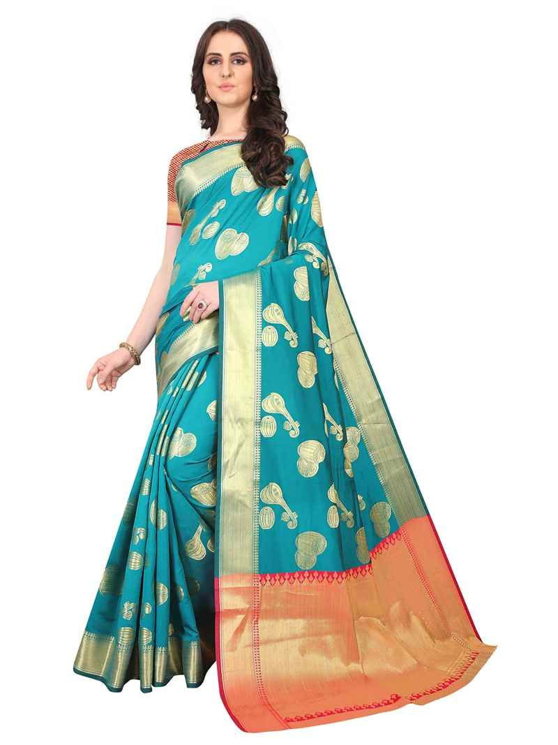 Purchase New Designer Turquoise Chanderi Silk Saree Design 2020 Online
