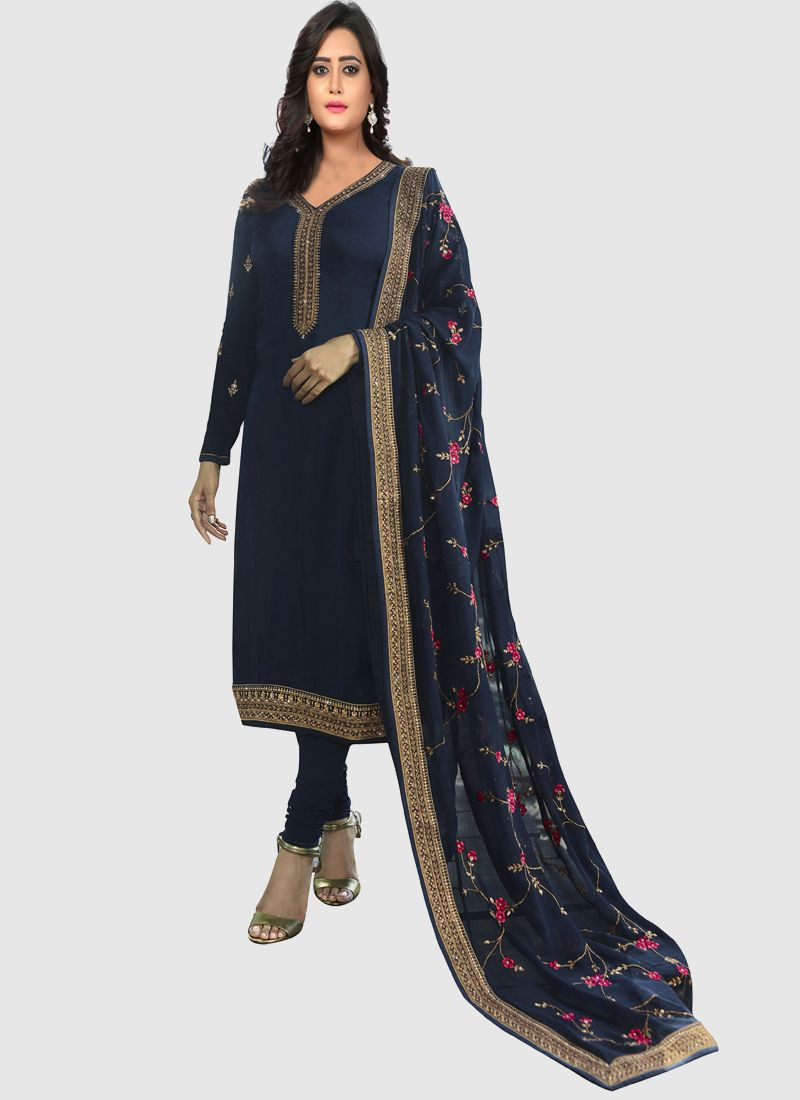 Purchase Latest Georgette Navy Blue Designer Salwar Suit For Women Online
