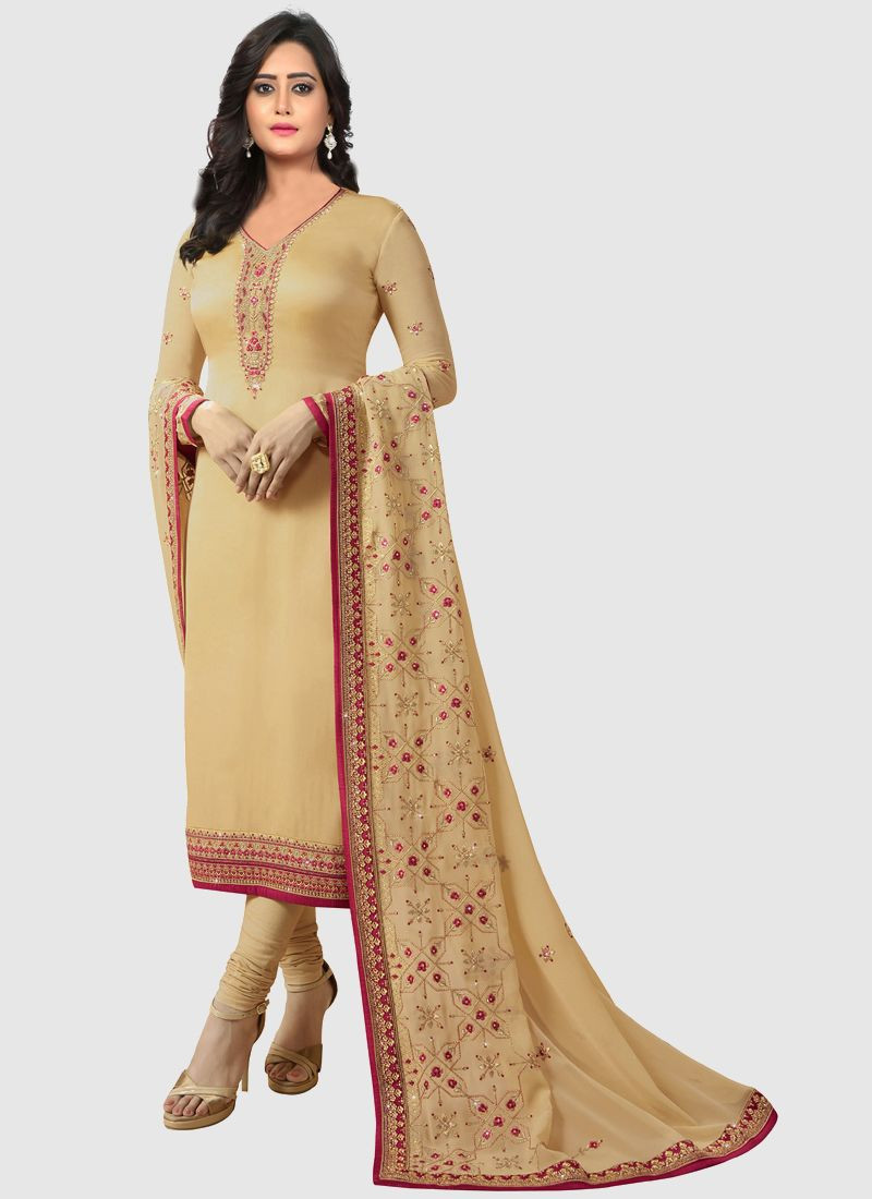 Purchase Beautiful Designer Georgette Embroidered Beige Salwar Suit Online