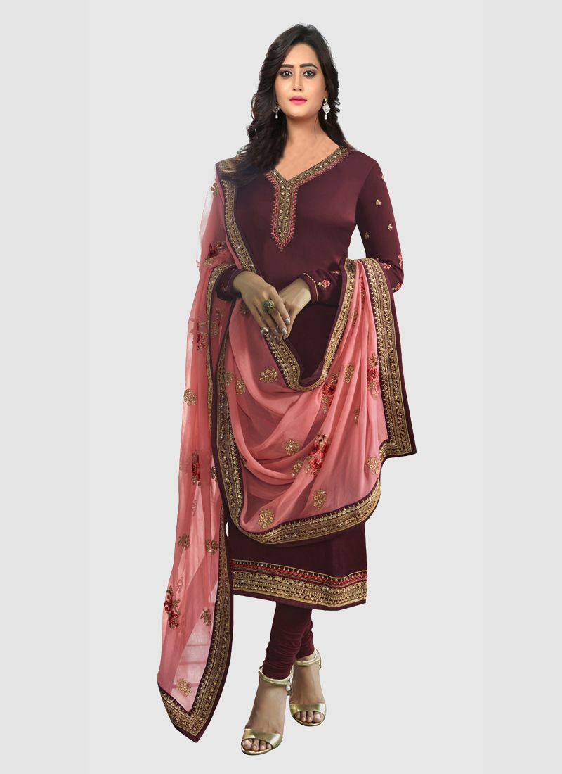 Purchase Latest Designer Womens Embroidered Wine and Peach Anarkali Salwar Suit Online