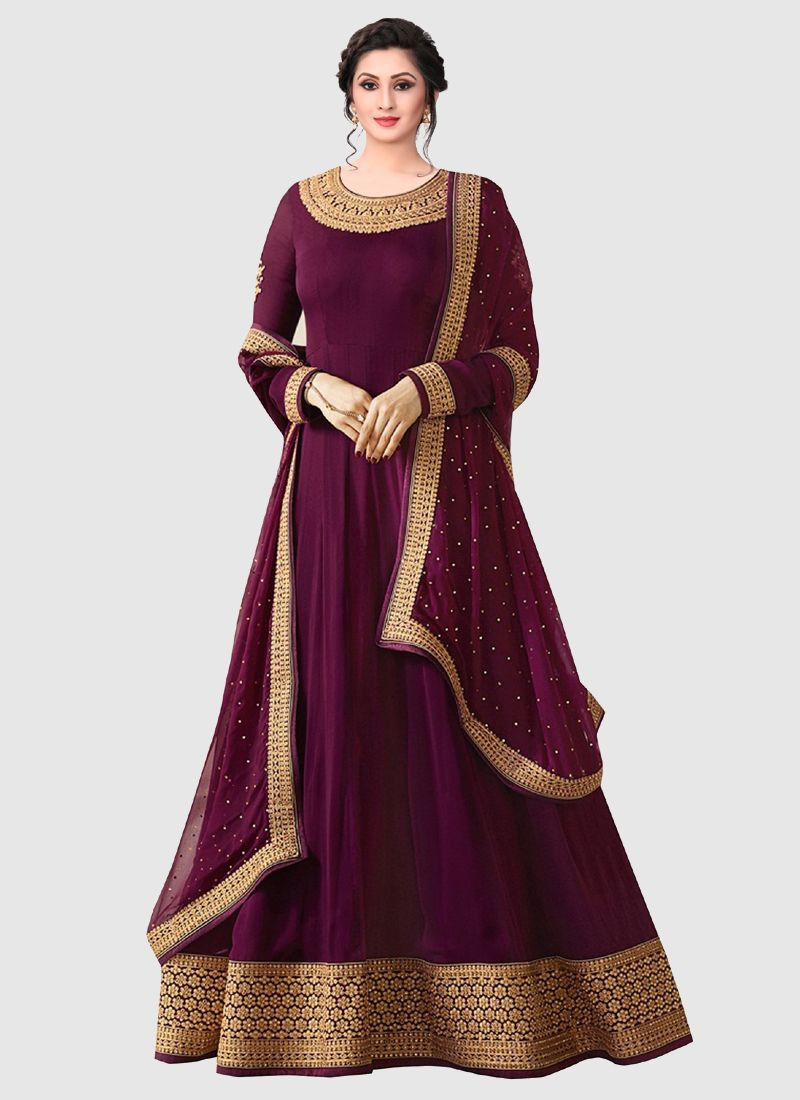 Purchase Latest Designer Purple Georgette Long Pakistani Anarkali Suit Online