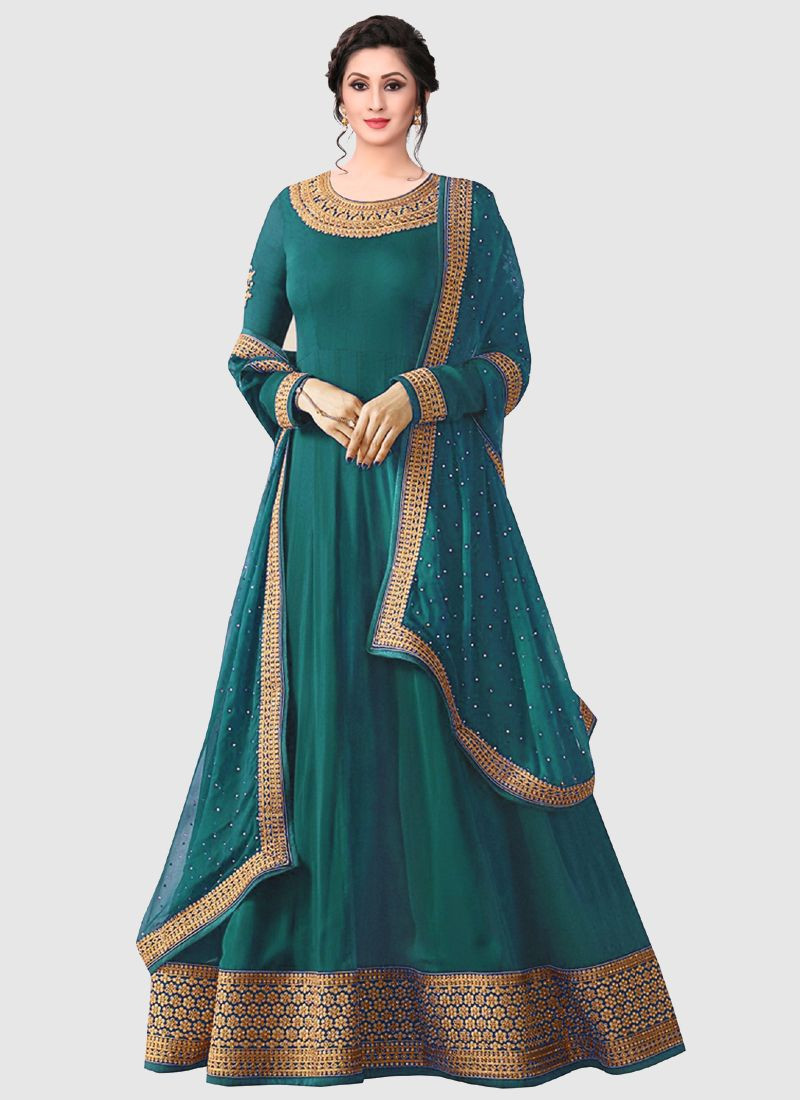 Purchase Indian Designer Turquoise Embroidered Anarkali Dress For Wedding Online