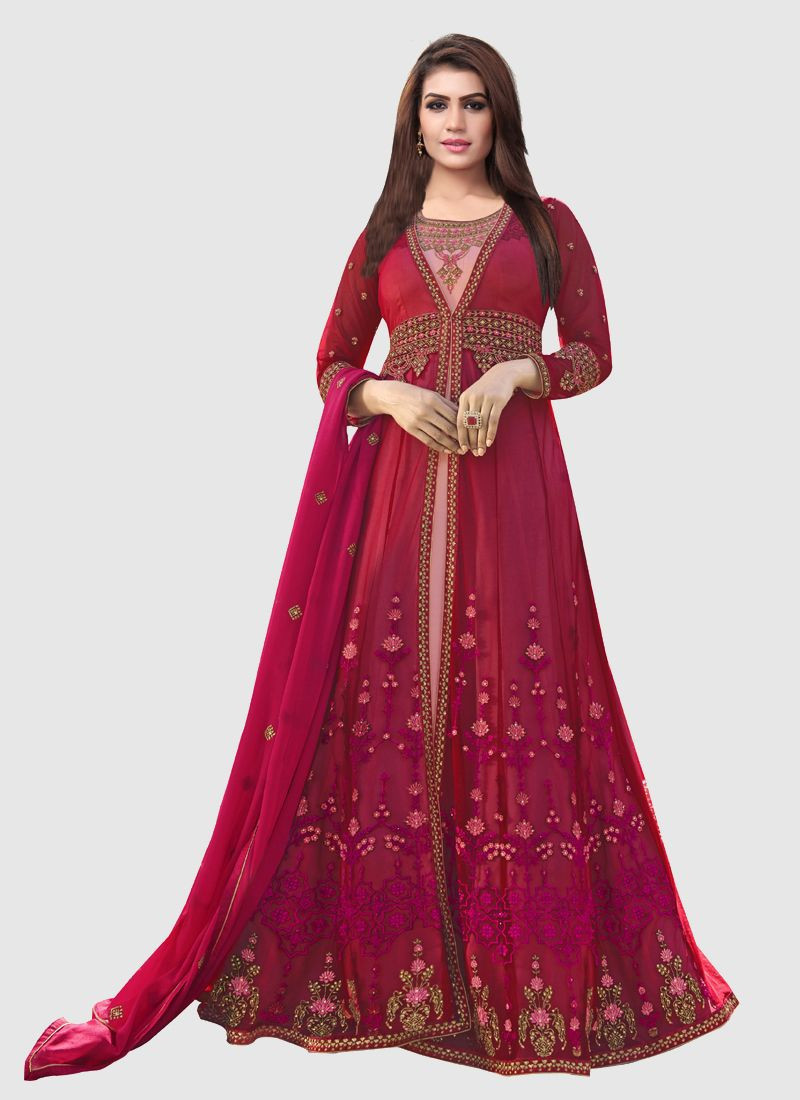 Purchase Latest Designer Pink and Peach Georgette Long Anarkali Gown with Koti Online