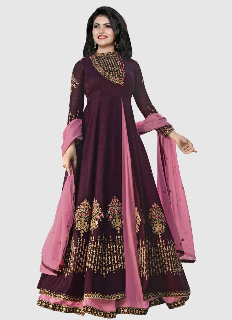 New Fashion Pink and Wine Silk Front Slit Anarkali Dress For Wedding