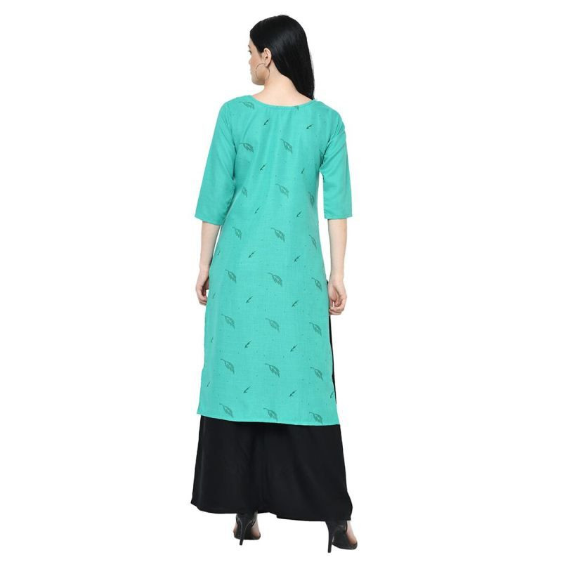 Simple Indian Girls Daily Wear Sea Green Straight Long Kurti