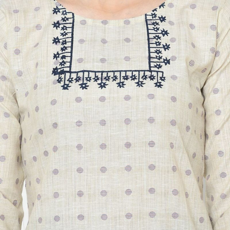 Cream Cotton Long Kurti For Women