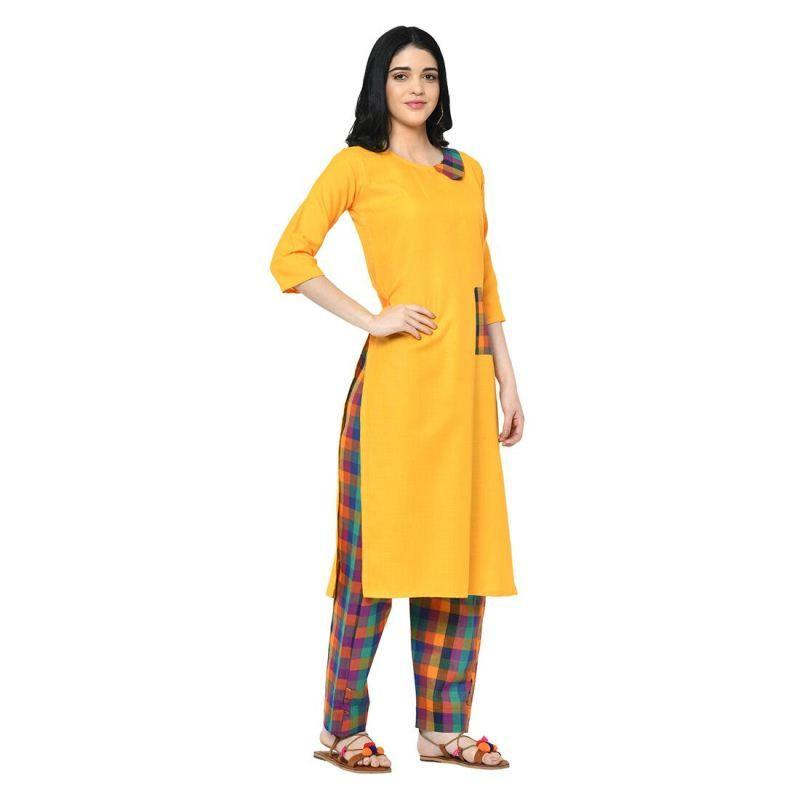 Latest Designer Ladies Yellow Cotton Kurti With Palazzo Pants