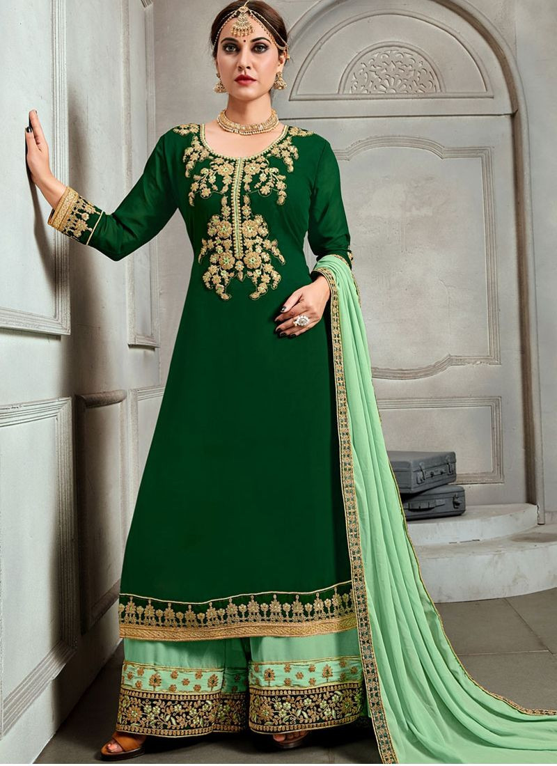 Purchase Beautiful Designer Embroidery Green Georgette Pakistani Plazo With Long Kameez Online