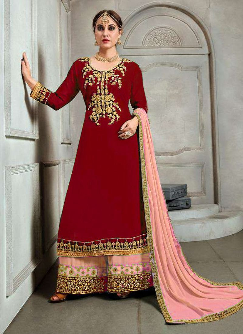 Purchase Latest Partywear Red Georgette Pakistani Designer Plazo Suit Online