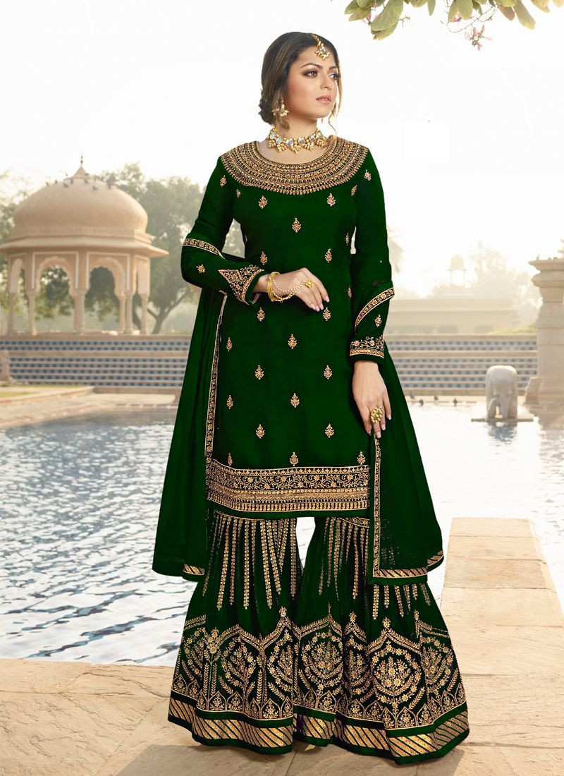 Latest Georgette Green Party Wear Designer Sharara Suit For Girls