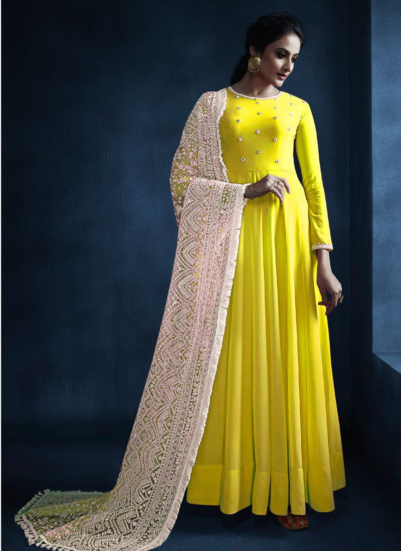 Purchase New Partywear Yellow Georgette Long Anarkali Dress for Haldi Online