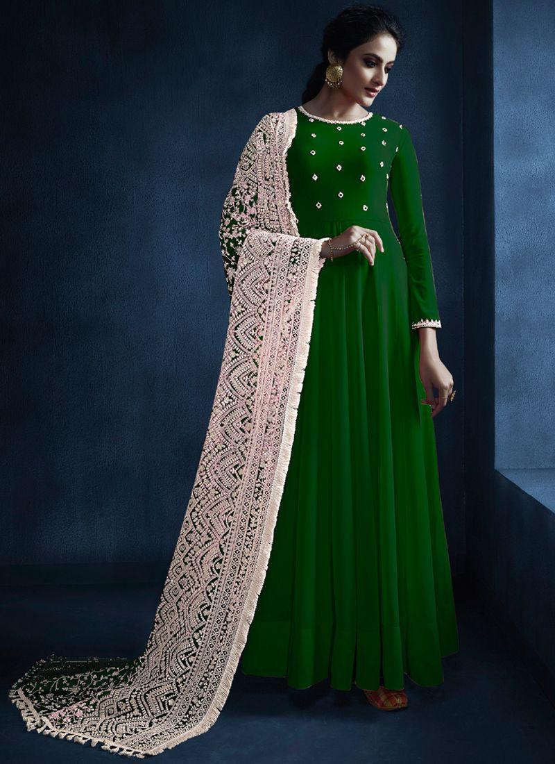 Ladies Green Georgette Indian Long Anarkali Suit