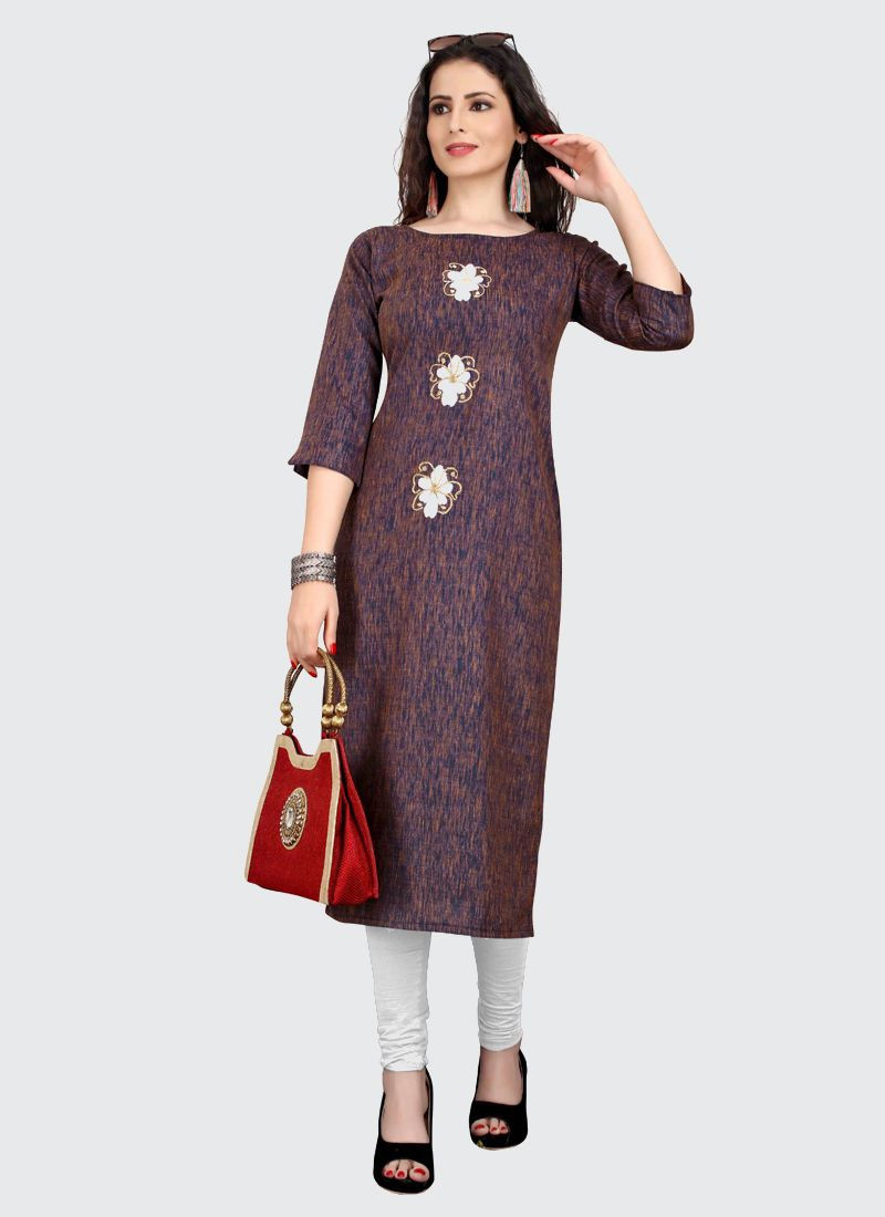 Trendy Brown and Blue Embroidered Cotton Kurti