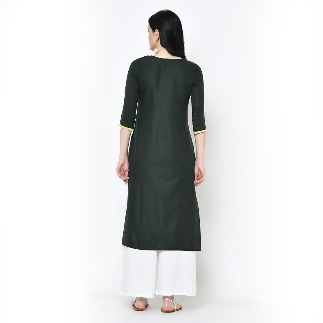 Ladies Designer Green Pure Cotton Long Kurti
