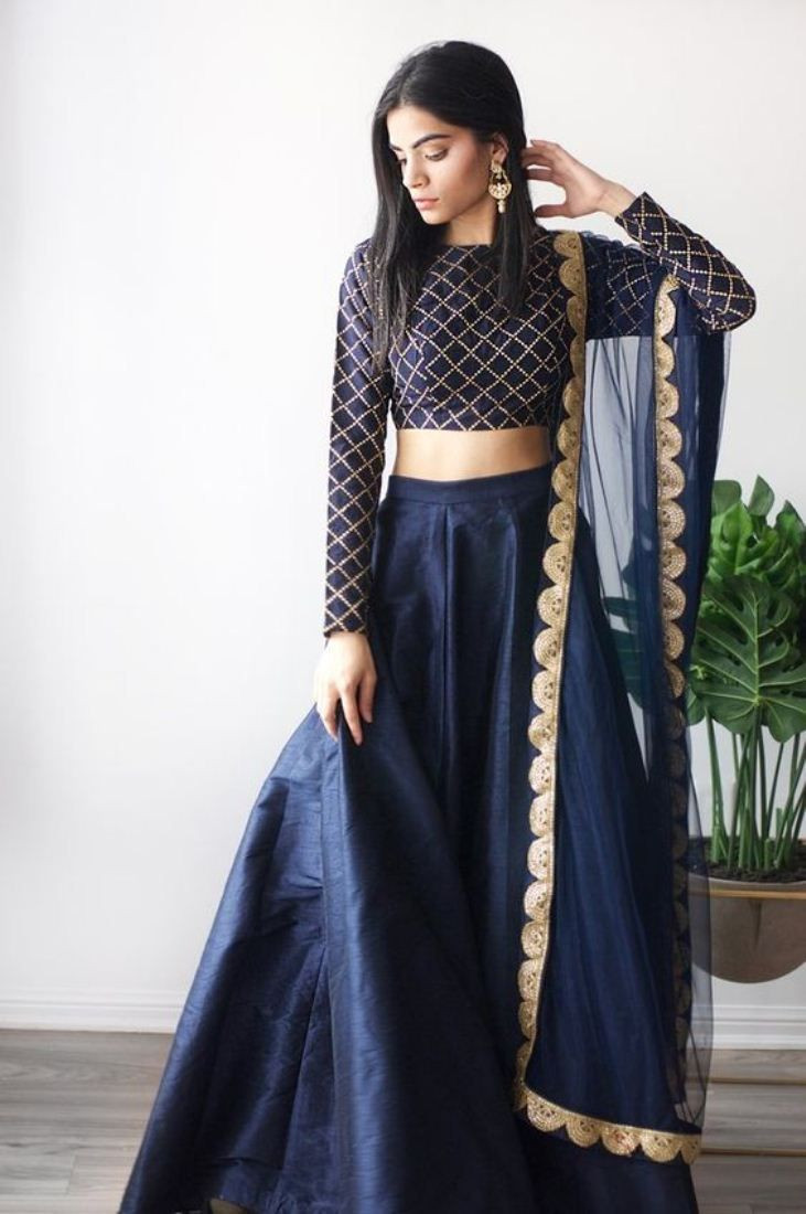 Purchase Simple Stylish Blue Silk Designer Lehenga Choli For Women Online