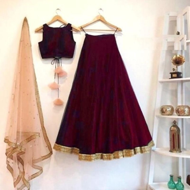 Purchase Latest Indian Designer Silk Maroon Wedding Lehenga Chunni Online
