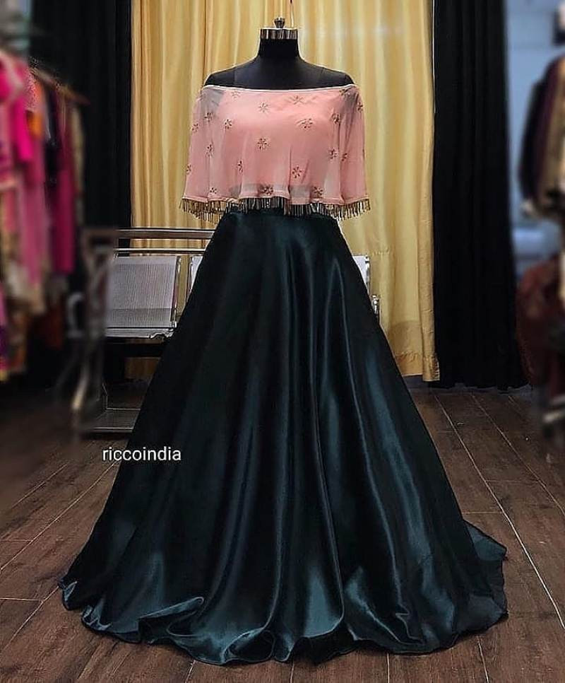 Black Silk Ladies Designer Crop Top Lehenga For Wedding