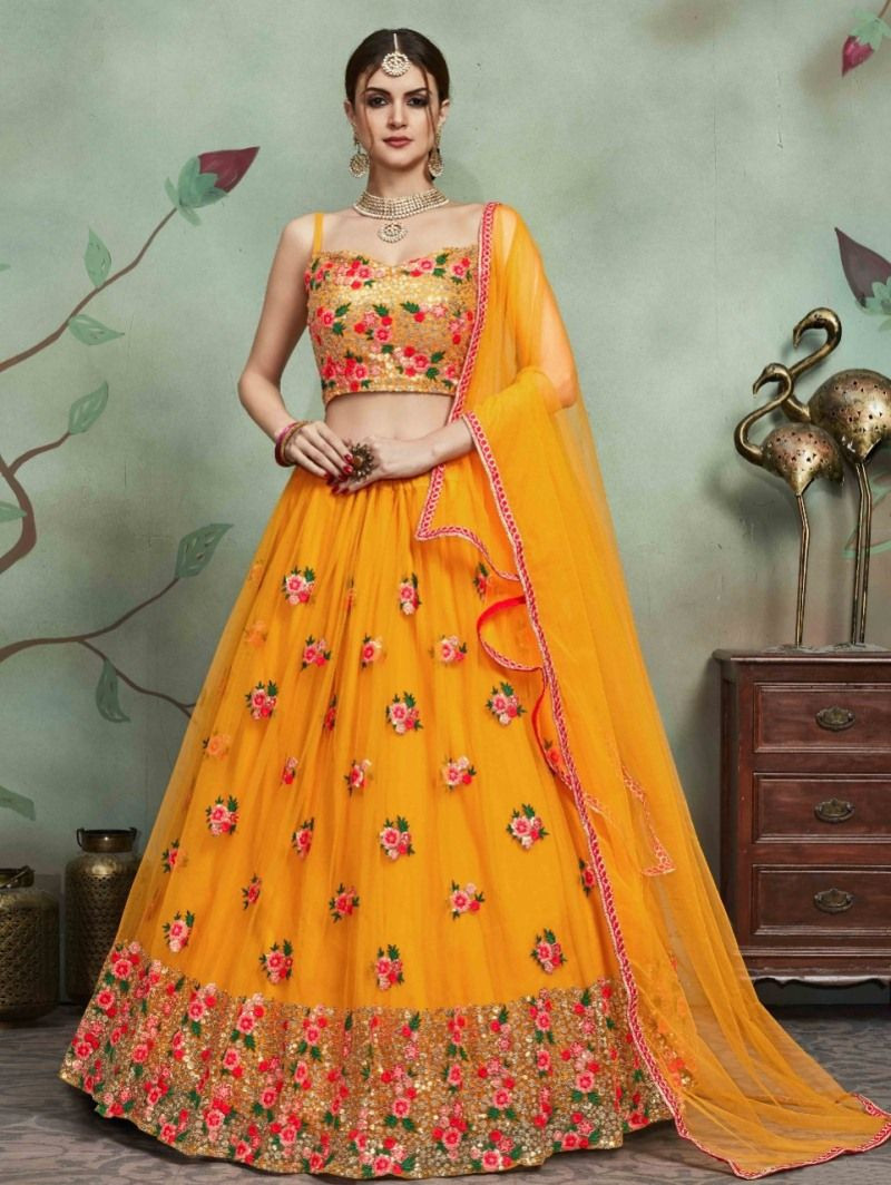 Latest Designer Bridal Net Yellow Lehenga Choli For Haldi