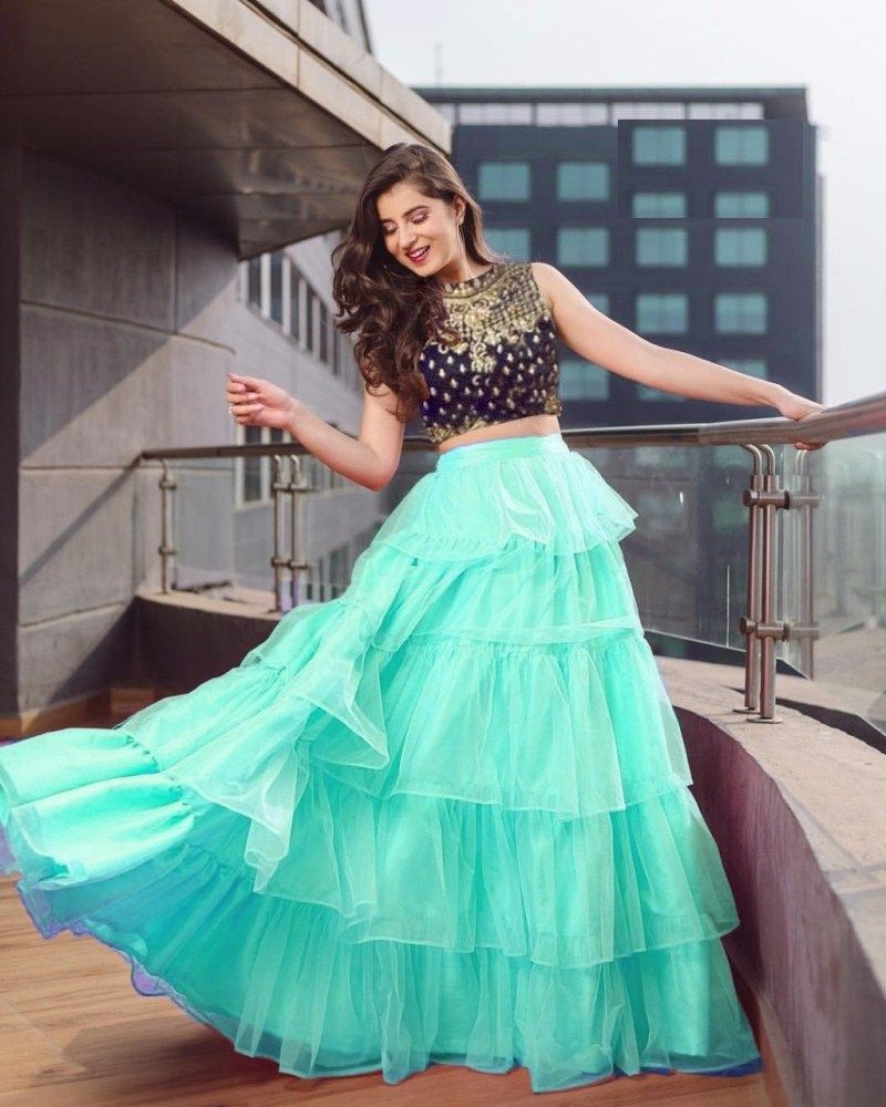 Purchase New Stylish Designer Sky Blue Partywear Crop Top Lehenga Online
