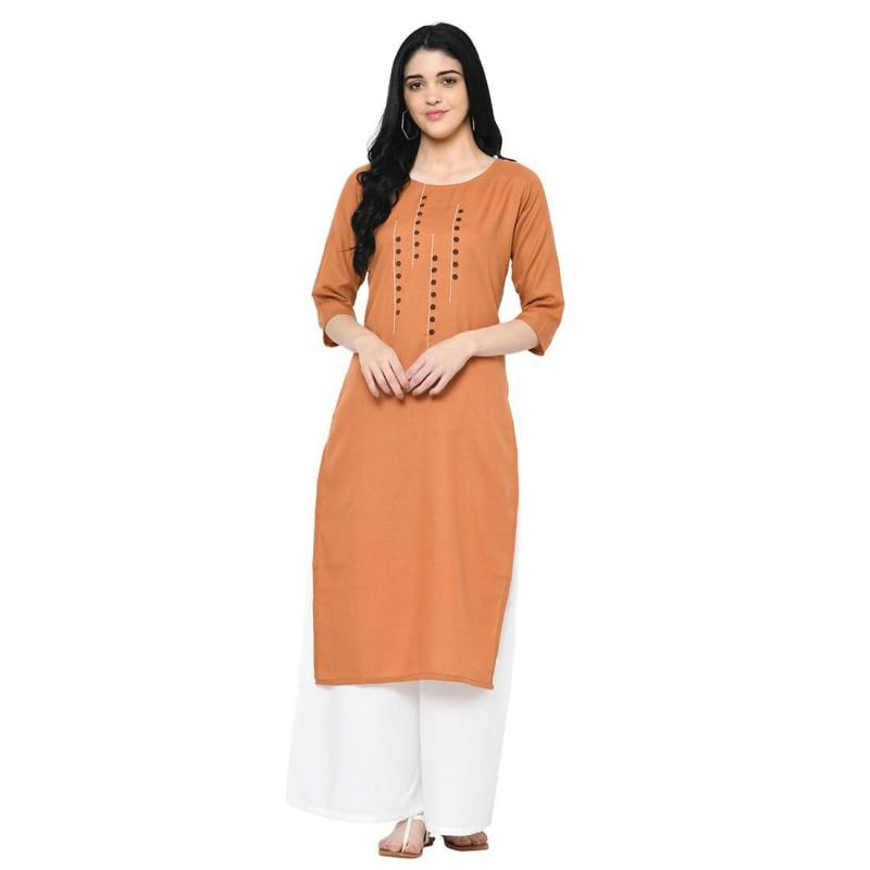 New Fashion Orange Party Wear Cotton Straight Long Kurti-krt237