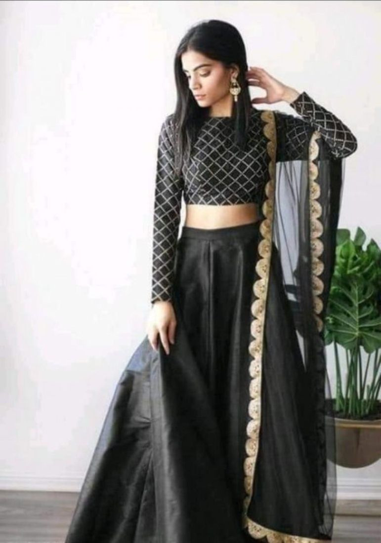 Latest Simple Silk Party Wear Black Lehenga Choli