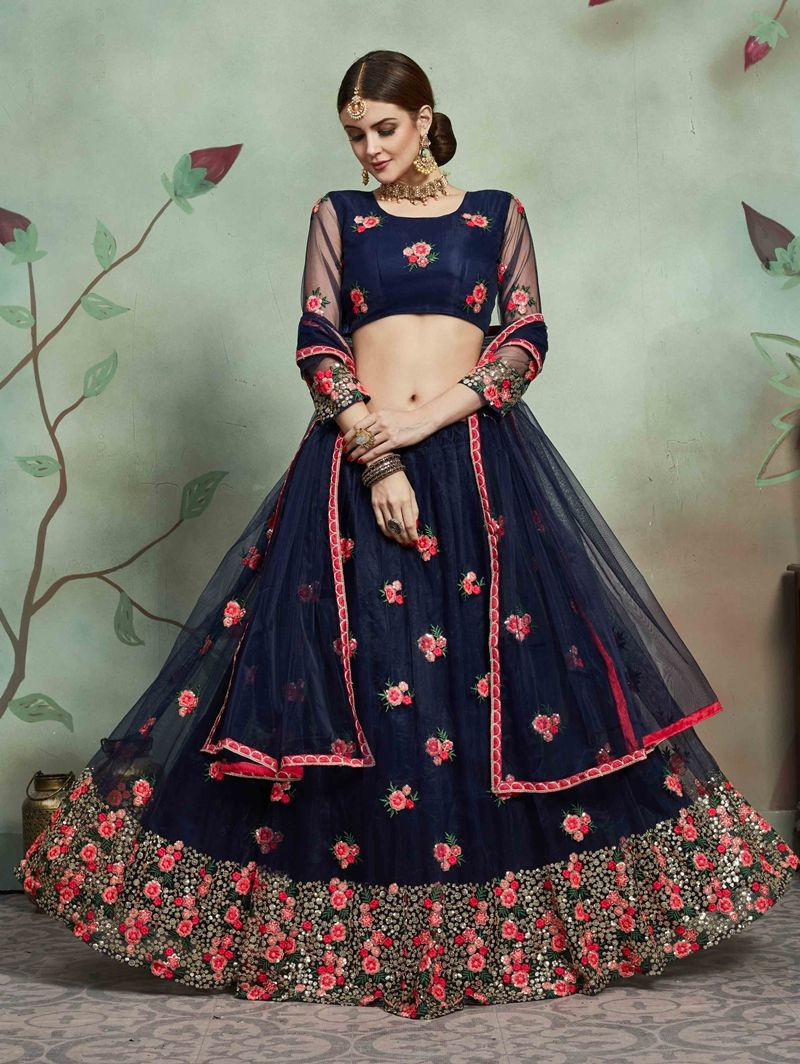 Purchase New Stylish Ladies Net Navy Blue Lehenga Choli For Wedding Online