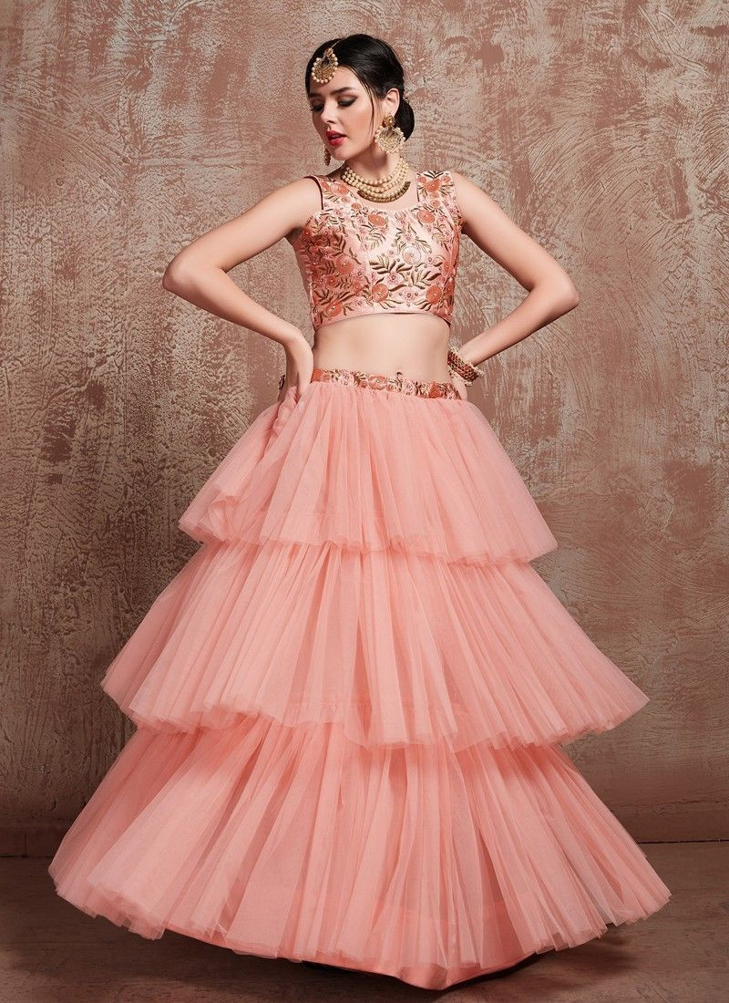 Stylish New Fashion Party Wear Peach Net Lehenga For Wedding