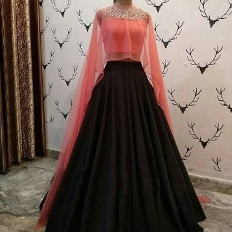 Latest Designer Girls Party Wear Black and Peach Crop Top Lehenga