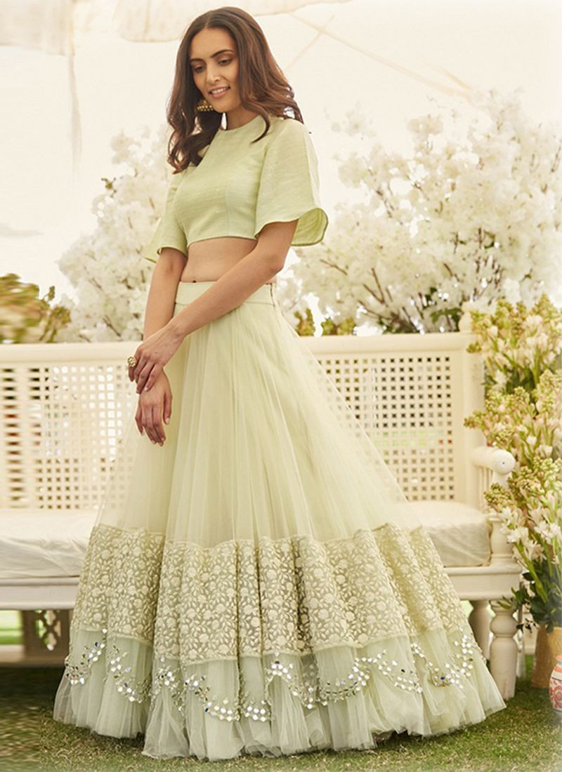 Purchase Latest Fancy Pastel Green Silk Crop Top Lehenga For Ladies Online